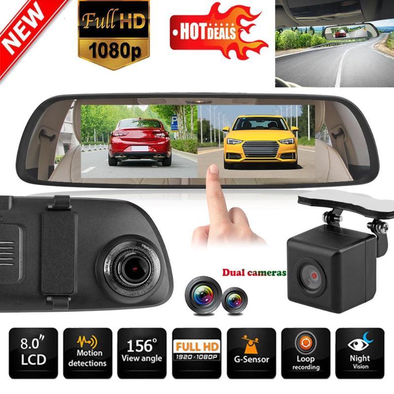 VODOOL H6 1080P HD 8inch Touch Screen Car DVR Camera Video Recorder G-sensor Star Night Vision Car Dash Camera Rearivew Mirror plusobd car recorder rearview mirror camera hd dvr for bmw x1 e90 e91 e87 e84 car black box 1080p with g sensor loop recording