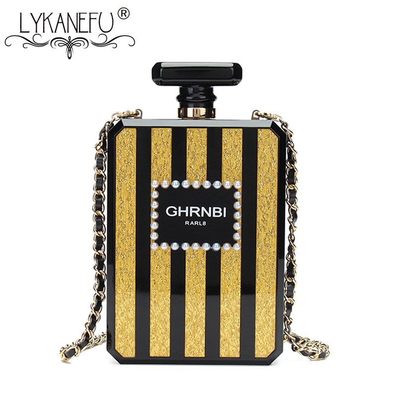 LYKANEFU bouteille de parfum sac à main Designer sac de soirée pochette sac à main femmes sac jour embrayages dames avec chaîne sacs à bandoulière Iphone