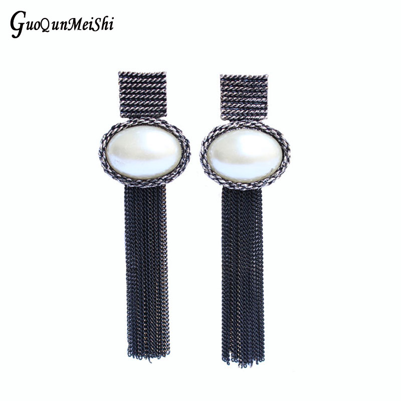 Wholesale Drop Earrings Simulated Pearl Gun Plated Fashion Jewelry Prom For Women New Jewelry Accessories Gifts