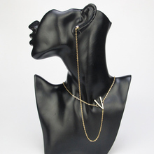 New Sexy Necklace Earring Link Set V Crystal Charm Collier Body Chain Necklace Collars Choker Necklaces Pendants Women Jewelry