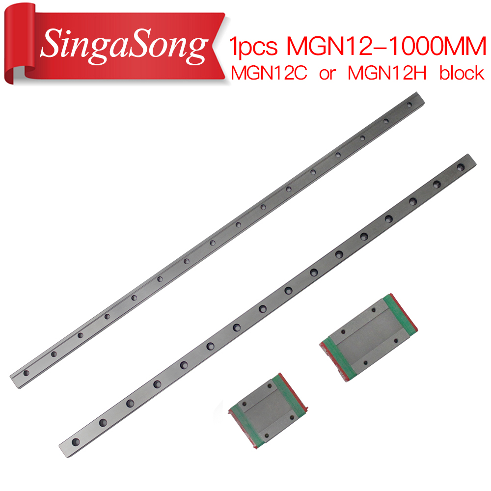 12mm Linear Guide MGN12 1000mm L= 1000mm linear rail way + MGN12C or MGN12H Long linear carriage for CNC X Y Z Axis thk interchangeable linear guide 1pc trh25 l 900mm linear rail 2pcs trh25b linear carriage blocks