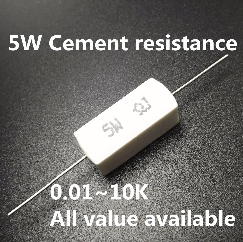 5pcs 5W 39 47 51 56 75 82 100 120 150 Ohm 39R 47R 51R 56R 75R 82R 100R 120R 150R Ceramic Cement Power Resistance Resistor 5%