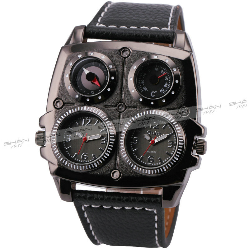 OULM Men's Watches Cool Sports Casual Quartz Wristwatch Leather Strap Oversize Military Compass Dial 2 Time Zone DZ Watch Men