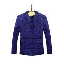 2016 женская Мода Нью-зима сплошной цвет хлопка Стеганые Тонкий однобортный длинное пальто для женщин Топы