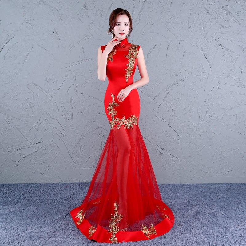Chinese Traditional Qipao Dress Sleeveless Women Fishtail Sequin Long Mermaid Green China Cheongsam Wedding Gown Red Modern