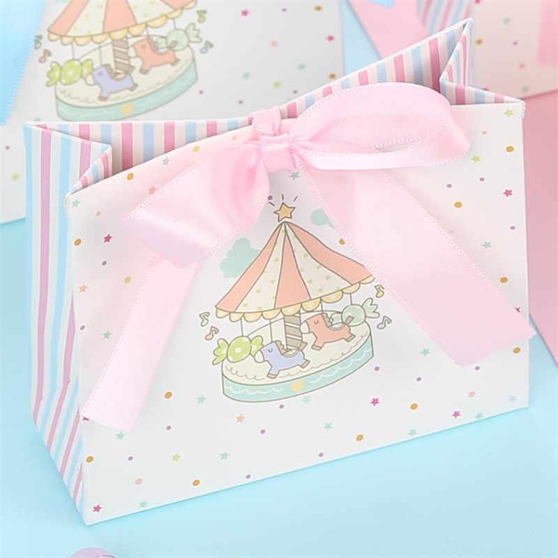 Caixa de presente de papel carrossel casamento favores e presentes unicórnio festa menino/menina chá de fraldas caixa de doces decorações de festa de aniversário crianças
