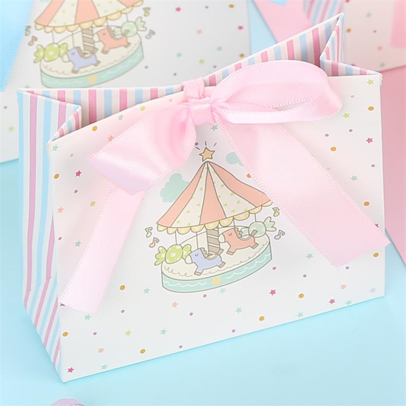 Carousel Paper Gift Box Wedding Favors And Gifts Unicorn Party Boy/girl Baby Shower Candy Box Birthday Party Decorations Kids