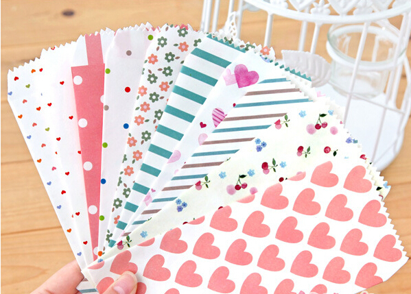 10Pcs/lot Sweet Envelopes Heart Flower Stripe&Dot Design Stationery Red Gift Envelopes Fresh Style For Weeding Party Invitations