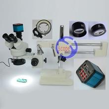 FYSCOPE Conjunto 3.5X-90X Microscopio de Doble Brazo Soporte Zoom Estéreo Trinocular Microscopio Estándar + HDMI de La Cámara de 14MP + 144 unids Llevó La Luz
