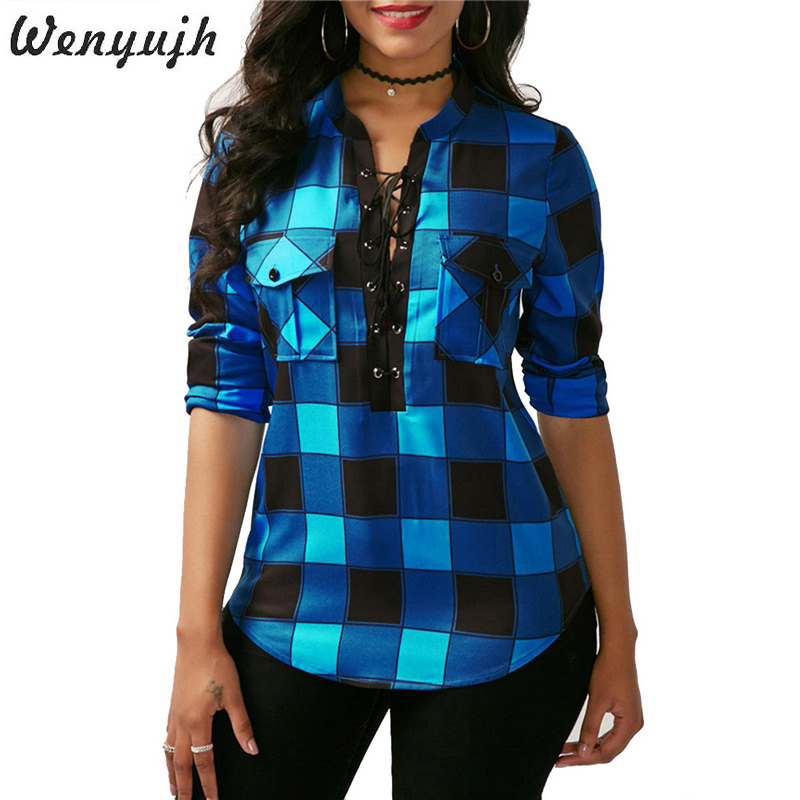 WENYUJH Women Plaid   Shirt   2019 Spring Long Sleeve   Blouses     Shirt   Office Lady Cotton Lace Up Tunic Casual Top Plus Size Blusas