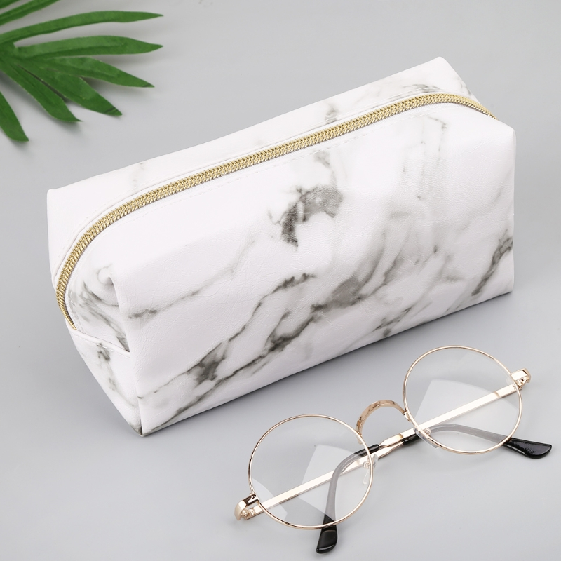 Large Cute Pencil Case Pen Box Zipper Bags Marble Makeup Storage Supplies White/Black title=