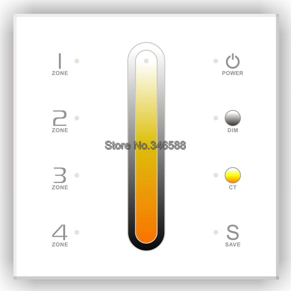 AC110V-240V DX6 Touch Panel Wall Mount 2.4G RF Wireless CCT Color Temperature Controller 4 Zones Control DMX512 Signal Ouput ac110v 240v dx62 wall mount 2 4g rf wireless led sync cct color temperature controller dmx512 signal ouput for dual white strip