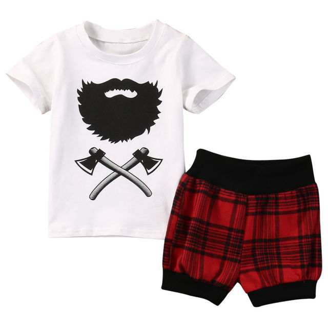 bfd484c48518 New 2017 Summer Newborn Infant Baby Boys Axe Beard Short Sleeve Clothes T- shirt Tops Plaid Shorts Outfits Sets UK