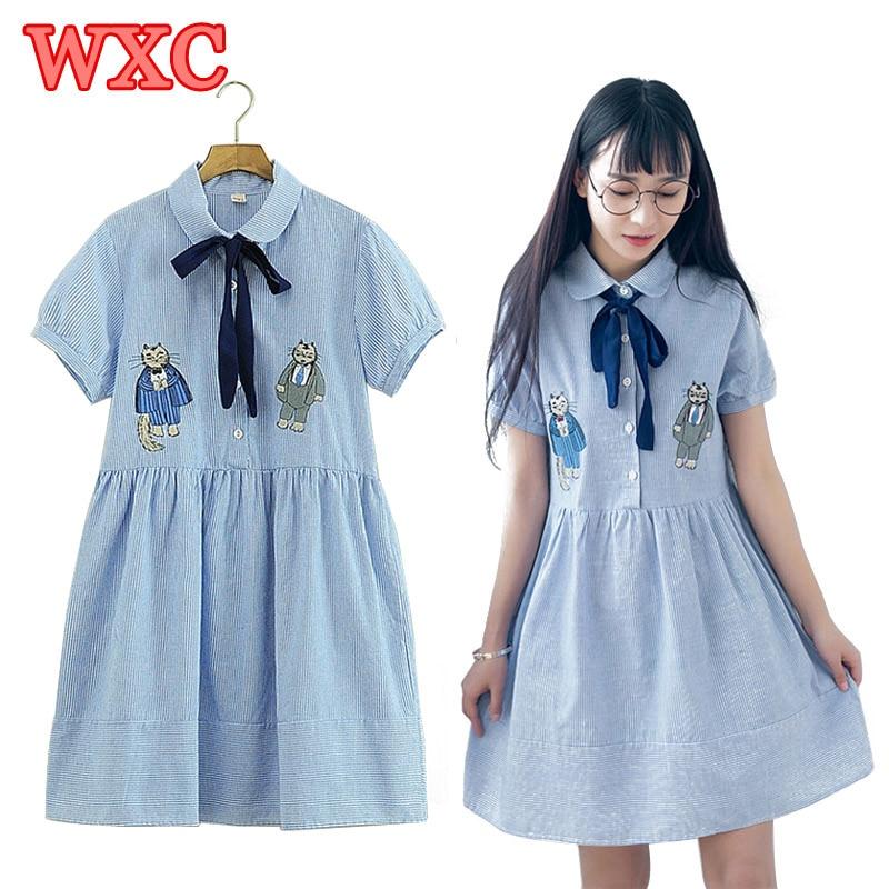 Summer Striped Blue Dress Lolita Mori Girls Peter Pan Collar Cute Two Cat Embroidery Dresses Harajuku Loose Women Dress WXC