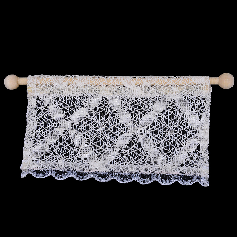1/12 Dollhouse Miniature Wooden Rod Lace Curtain Doll House Decoration White Cassic Toy For Kids Dolls Accessories