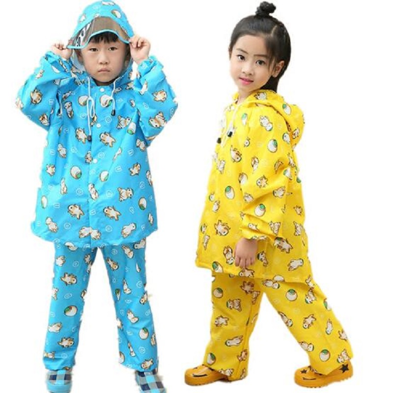Boy Raincoat Rain Pants Children Waterproof Girls Rainwear Students Rain Coat Poncho Kids Raincoat Rain Pants Suit