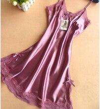 Дамы Сексуальный Атласный Шелк Ночь Платье Без Рукавов Ночные Рубашки V-образным Вырезом Ночной Рубашке Плюс Размер Ночная Рубашка Кружева Пижамы Пижамы Для Женщин