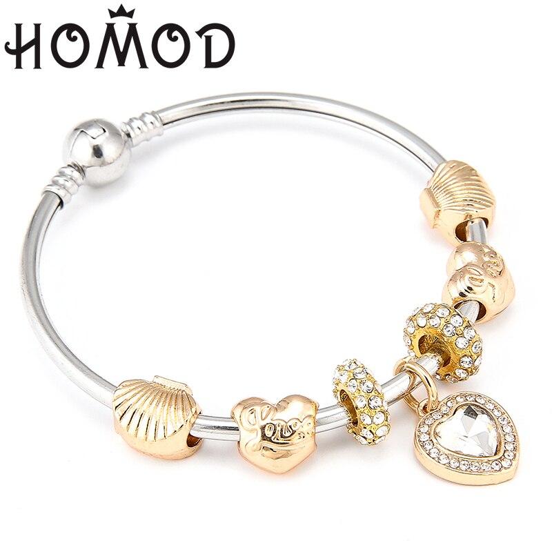 HOMOD Fashion European Love Heart Beads Bracelet Vintage DIY Crystal Golden Color Brand Charm Bracelets for Women in Charm Bracelets from Jewelry Accessories
