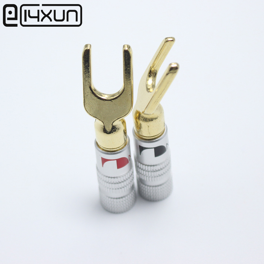 Y/U Type Gold Plated Copper Banana Plug 12PCS Nakamichi Cable Wire ...