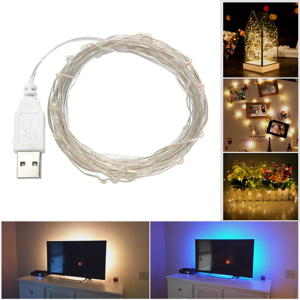 USB LED String Lamp DC5V Flexible LED Light Strip Tape Ribbon 1M 2M 3M 5M 10M HDTV TV Desktop Screen Background Bias Lighting