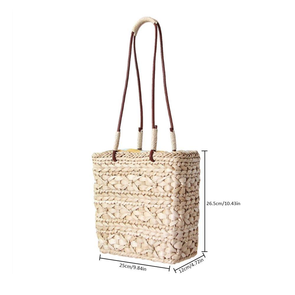 Ins Style Women 39 s Straight Beach Bag Imitated Straw Woven Flap Bags Natural Fashion Rattan Bag For Ladies Brand New in Crossbody Bags from Luggage amp Bags