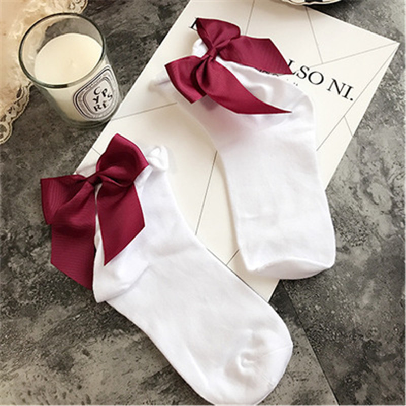 Lovely Candy Color Bow Socks 4