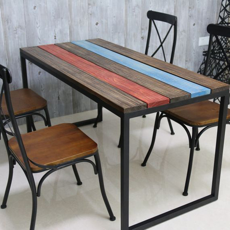 Merveilleux American Retro Colored Stripes Iron Restaurant Hotel Pine Simple Casual  Cafe Tables Wood Dining Table In Dining Tables From Furniture On  Aliexpress.com ...
