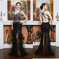 Promotion Arabian 2016 Robe de soiree Fast shipping Mermaid Crystal Front Split Long Pregnant Party Evening dress for women