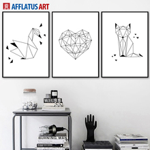 AFFLATUS Geometric Swan Heart Fox Nordic Poster Wall Art Print Canvas Painting Animal PopArt Pictures For Living Room Decor