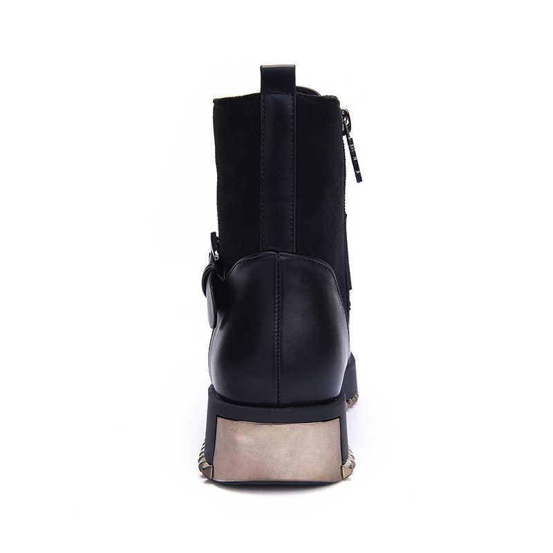 Zapatos de mujer Hellenia botas nuevas de otoño botas cortas Martin cuero PU con cordones hebilla de tobillo piedra zapatos de tacón de moto grueso
