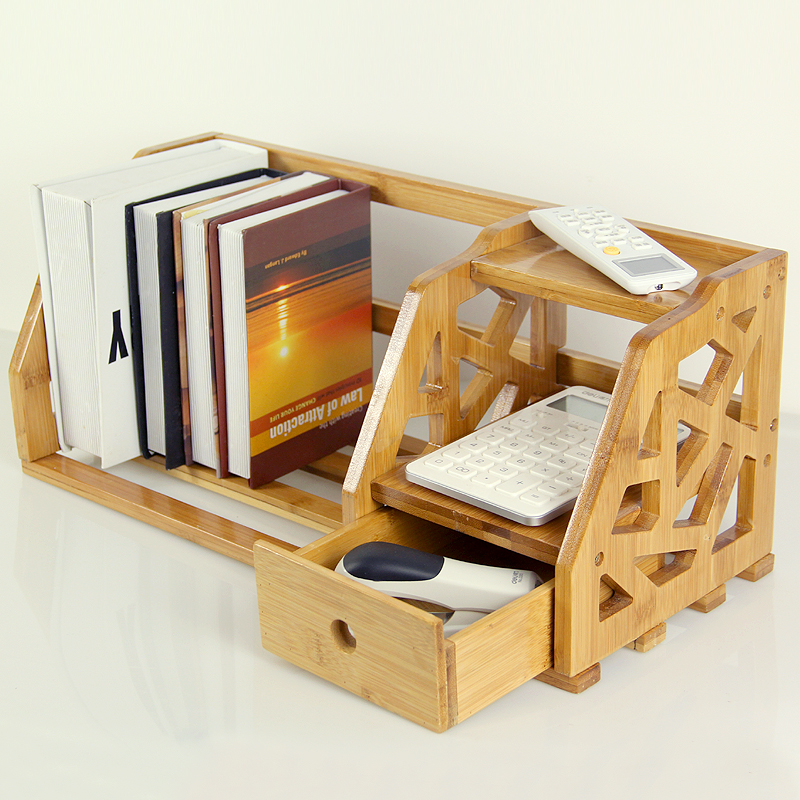 Bamboo Retractable Shelves Desktop Bookshelf Desk Office Bookcase Shelf Simple Small Wood In Figurines Miniatures From Home Garden On