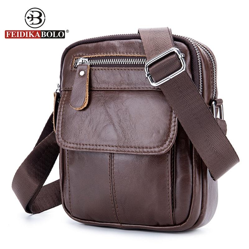 купить FEIDIKABOLO Genuine Leather Bag Men Messenger Bags Men's Crossbody Bag Small Leather Handbags Satchel Man Satchels Shoulder Bags по цене 1045.96 рублей