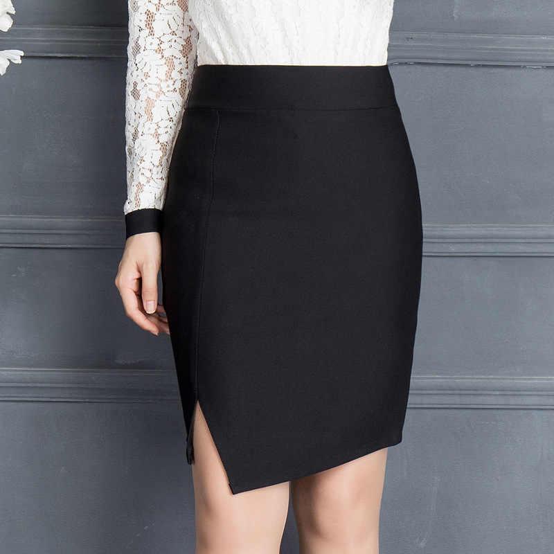 0ce12d59c 2019 Spring & Winter Women Office Mini Skirt Fashion Sexy Slim Ol Split  Elastic Package Hip