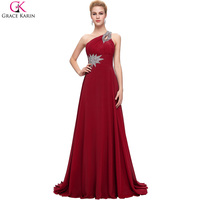 Christmas Day Gift Sexy Stock Evening Dress 8 Size One Shoulder Chiffon Party Gown Prom Ball