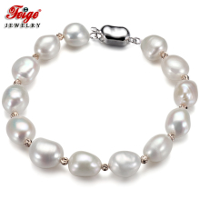 Feige New Design Pearl Bracelet 10-11mm White Baroque Natural Freshwater bracelets & bangles for Womens Fine Jewelry