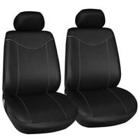 2 個フロントシートカバーユニバーサル車のためのシンプルな保護席車カバー黒自動車内装装飾|自動車シートカバー|   -