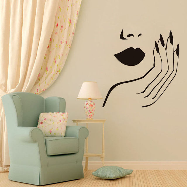 Manicure girls beauty salon wall decal removable self adhesive wall stickers art vinyl decals home decoration