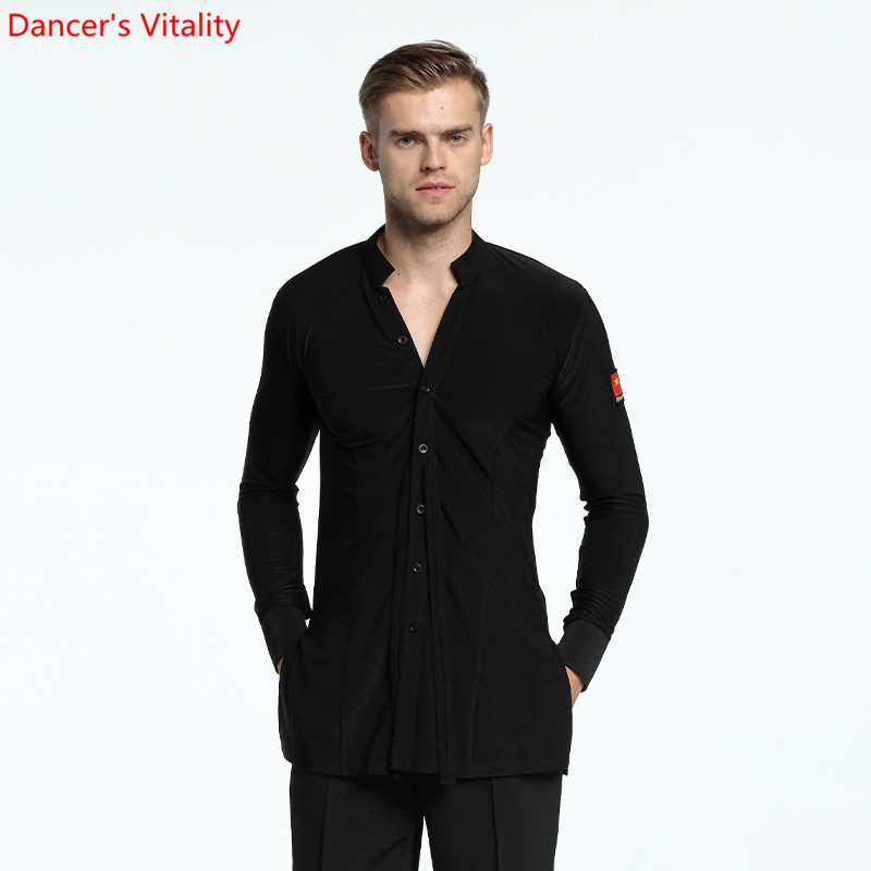 adult men's longsleeve shirt Plus Size Black Waltz Latin Dance shirt Men Latin Dance Shirts modern Ballroom stage dance tops