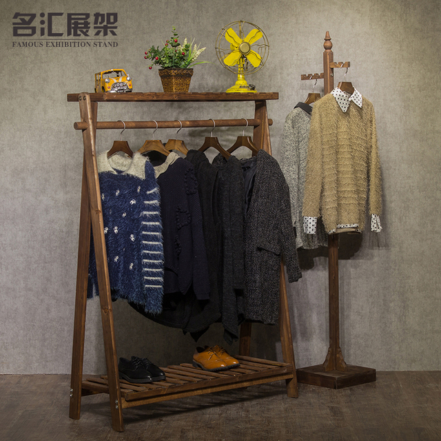 Exhibition Stand Clothes : New retro high grade solid wood coat rack clothing store shelf
