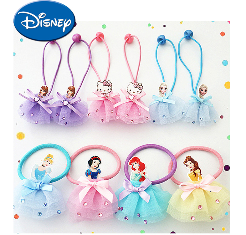 Disney Cartoon Frozen Children Hair Rope Doll Accessories Head Circle Elsa Headband Head Wear Girl Birthday Gift Rubber Band