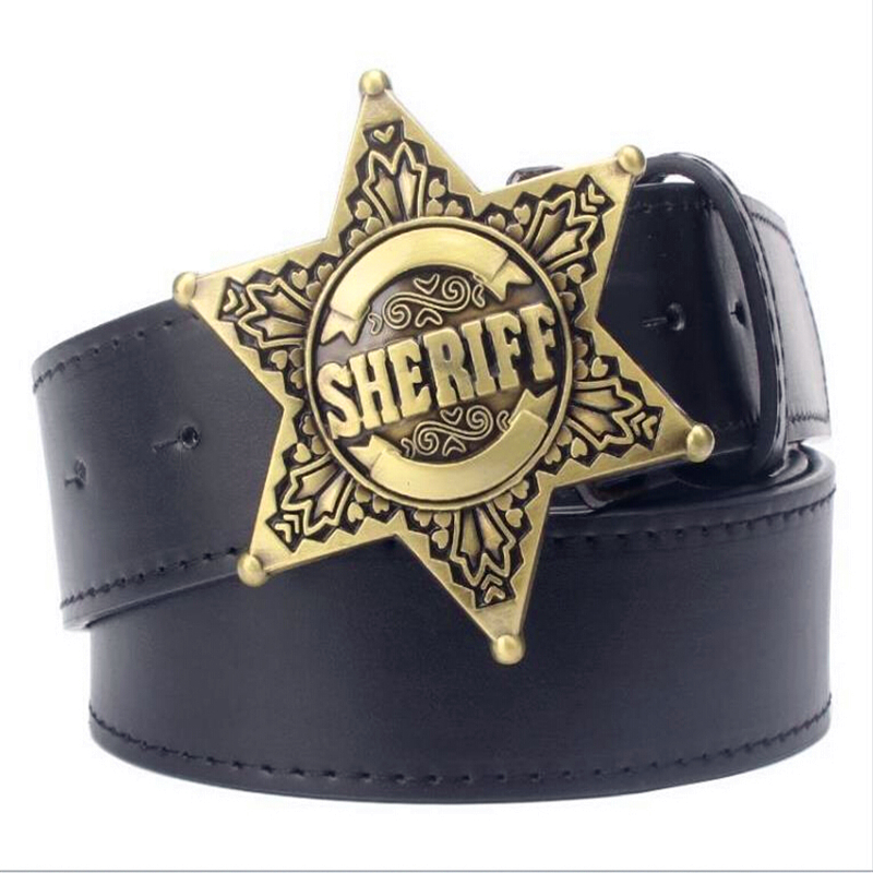 Fashion Mens belt metal buckle belts Sheriff badge Retro Hexagon star sign western style cowboy Pu leather belt
