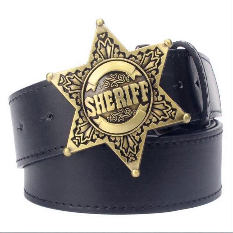 joli design pas cher toujours populaire € 8.16 36% de réduction Mode hommes ceinture métal boucle ceintures shérif  badge rétro hexagone étoile signe western style cowboy Pu ceinture en ...