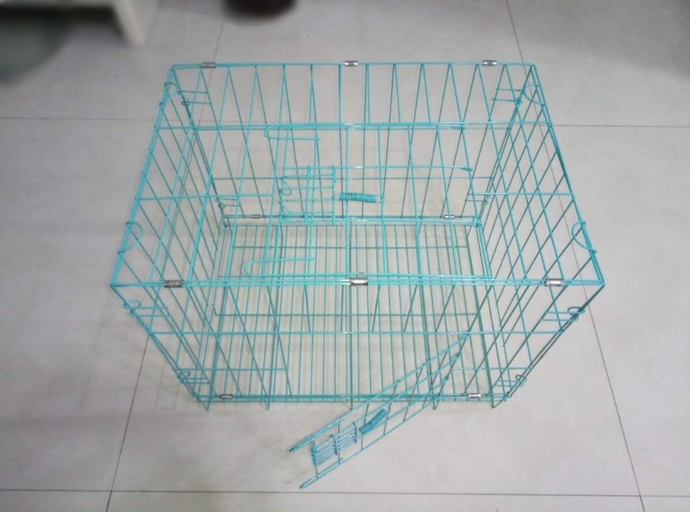 pink color and blue color iron steel wire dog cage for small dog ...
