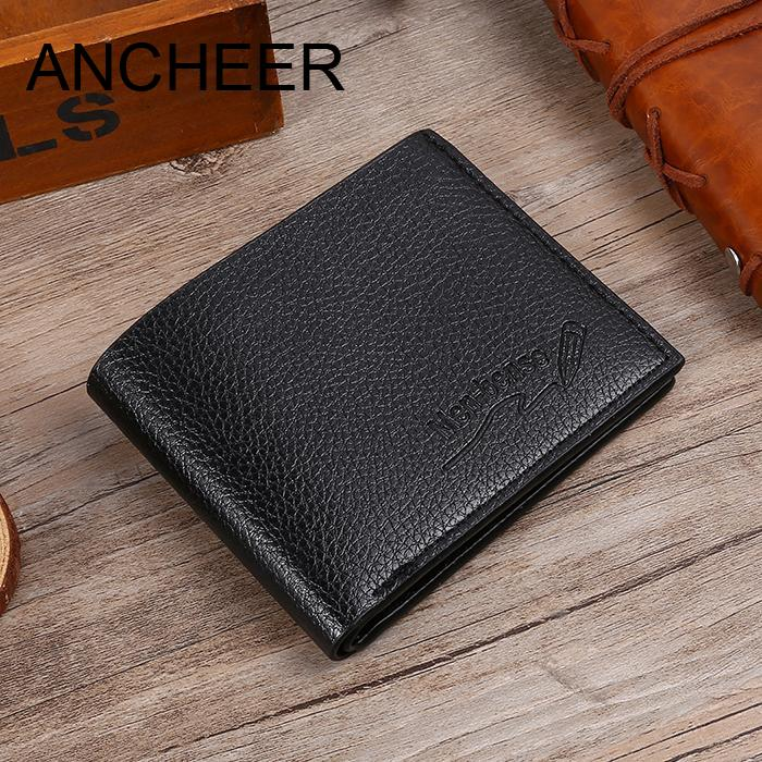 Top 2018 Vintage Men Leather Brand Luxury Wallet Print Fashion Letter Men Square Open Thin Short Bi-Folded Wallet letter print asymmetrical top