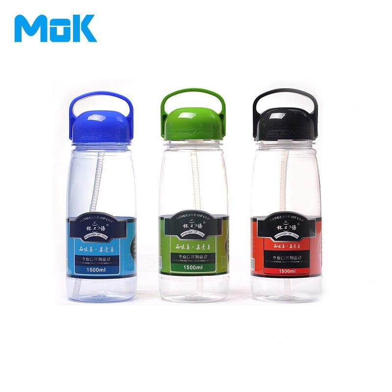 NºPortable Paille Bouteilles D eau En Plastique 1500 ml Avec Boule À ... 74cc11be0ccc