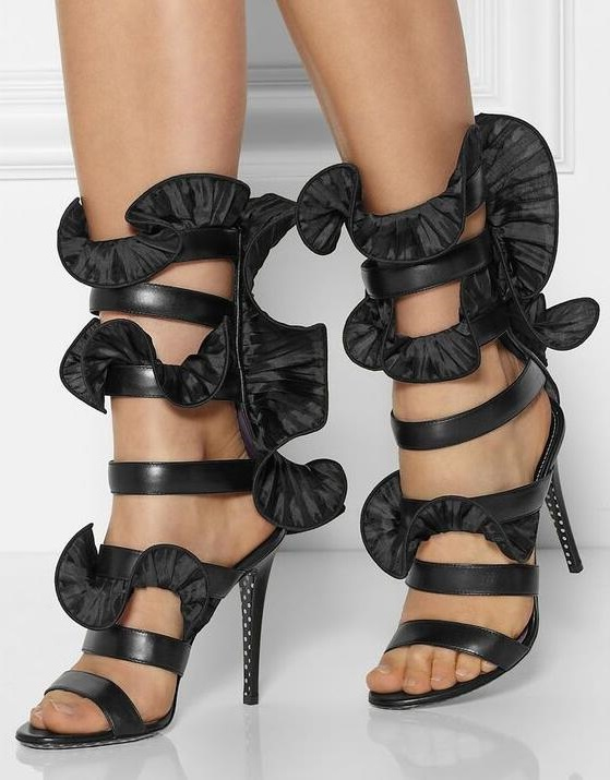 New Silk Black Ruffles High Heels Sandalias Women Ankle Strap Sandals Shoes Women Fashion Design Party Dress SandalsNew Silk Black Ruffles High Heels Sandalias Women Ankle Strap Sandals Shoes Women Fashion Design Party Dress Sandals