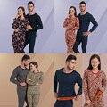 Sweet Lovers Cotton O-Neck Long Sleeves Thermal Underwear Set Men Women Warm Pajamas Set