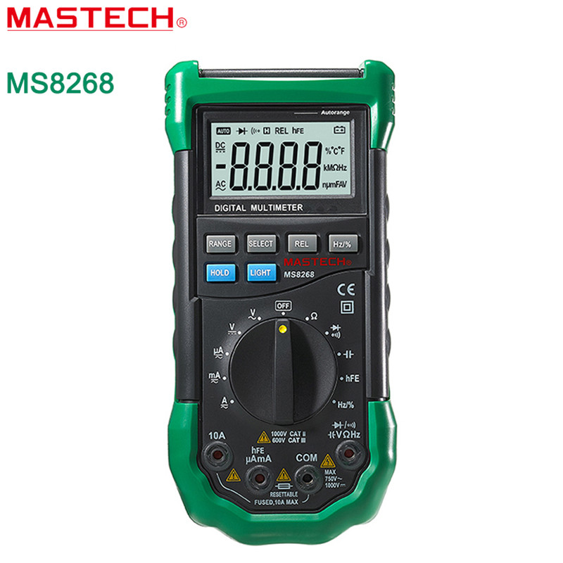 MASTECH MS8268 Digital Multimeter Auto Range Protection AC / DC Ammeter Voltmeter Ohm Frequency Electrical Tester Diode Detector  цены