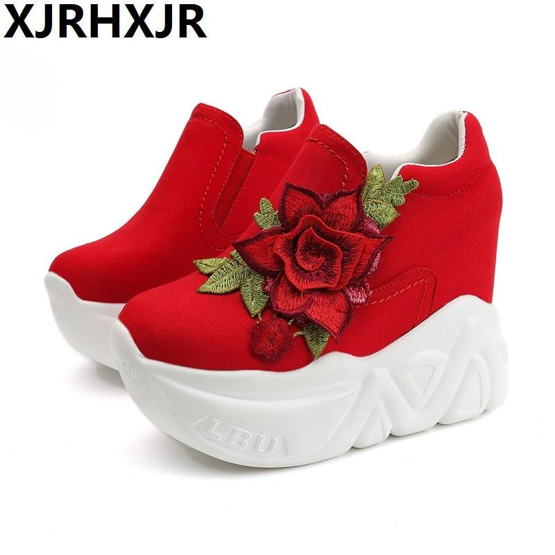 Hauts De Red white Talons Chaussure Femmes Xjrhxjr Rouge Cales Casual forme Plate Nouvelles Vulcaniser black Glissement 2019 Chaussures La Femme Fleurs Dames Sur RnnBIf