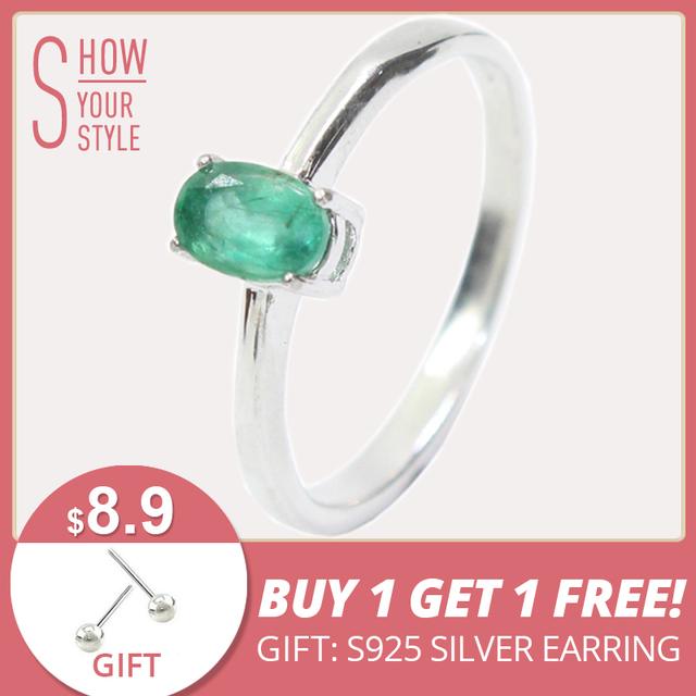 Promotion natural emerald wedding ring for woman 0.4 ct 4mm*6mm natural I grade
